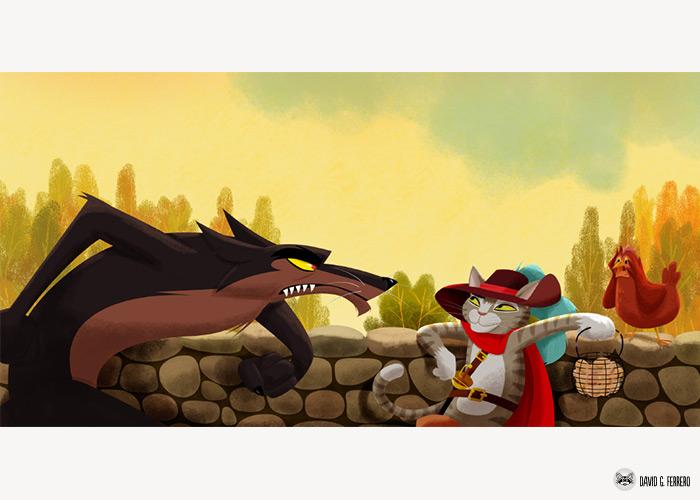 Siete Cabrites, un llobu y el Gatu les Botes